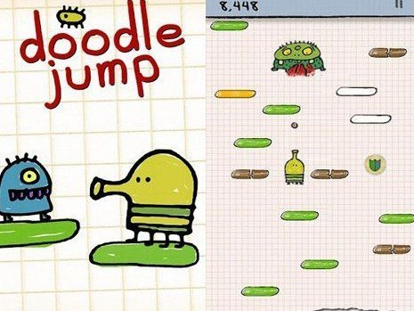 Doodle Jump game on mobile