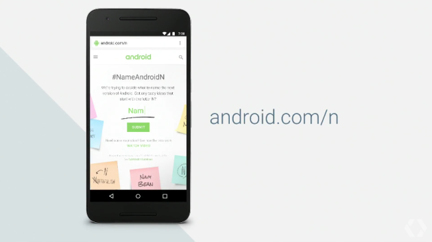 Pomozte Google vybrat jméno pro android N na této adrese www.android.com/n