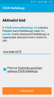 V internetovém bankovnictví (záložka Platební karty > NaNákupy) si vygenerujte Aktivační kód, přepište ho do aplikace a potvrďte podmínky