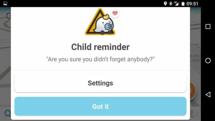 Waze - notifikace dětí