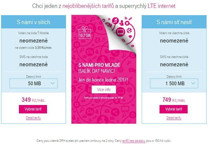 T-Mobile CZ tarify