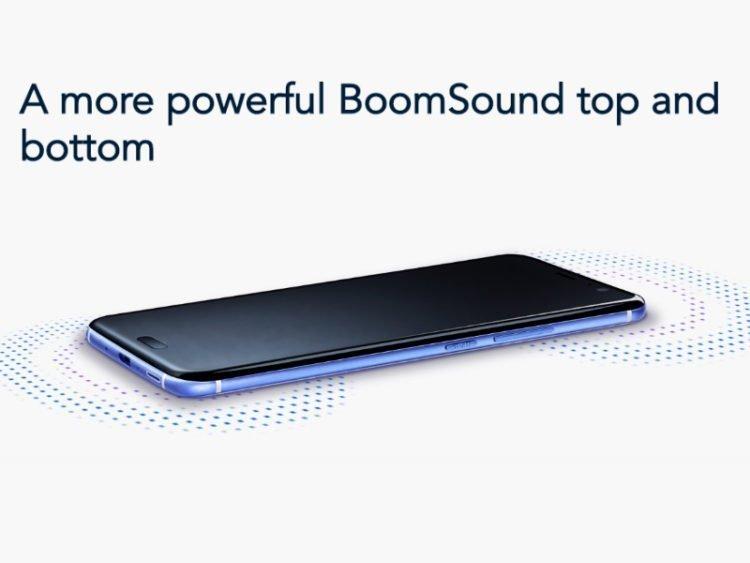 HTC U11 BoomSound na hoře (výšky) dole (basy)