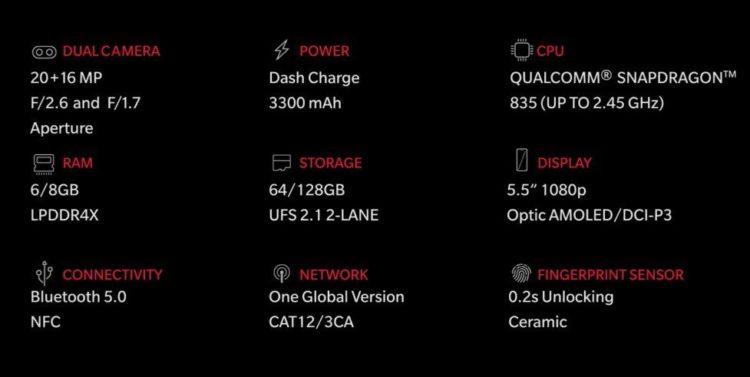 Specifikace OnePlus 5