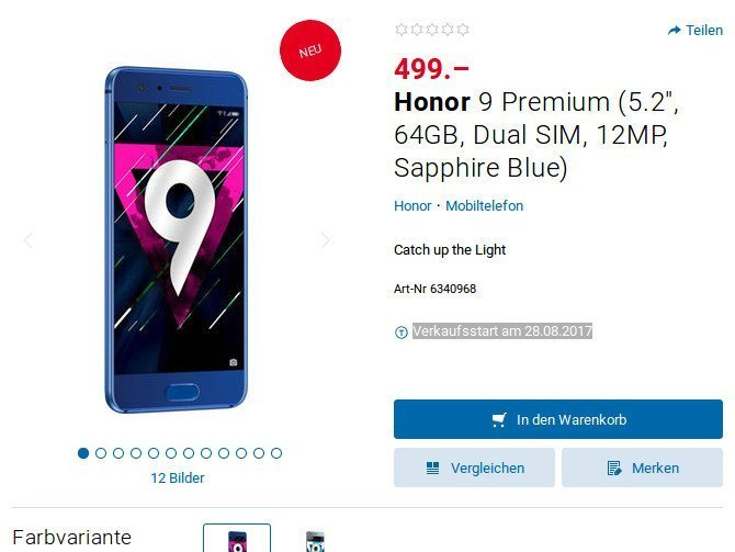 Honor 9 Premium v Evropě se 6GB RAM