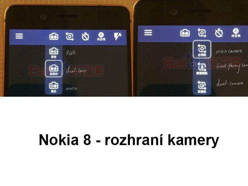 Nokia 8 - rozhraní fotoaparátu