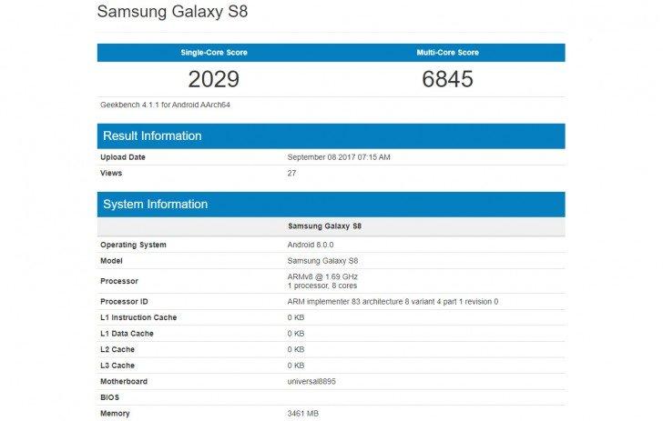Samsung Galaxy S8 na Android 8.0 Oreo