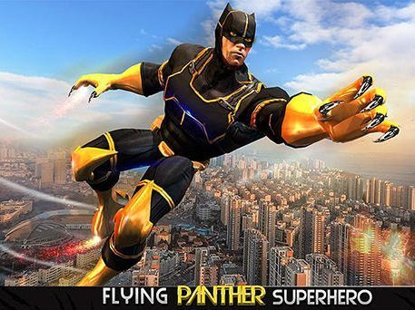 The game Super Panther flying hero city survival on mobile