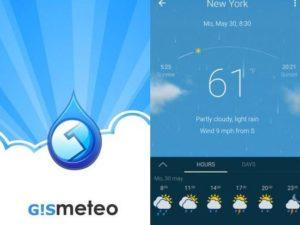 Gismeteo aplikace na mobil pro předpověď počasí