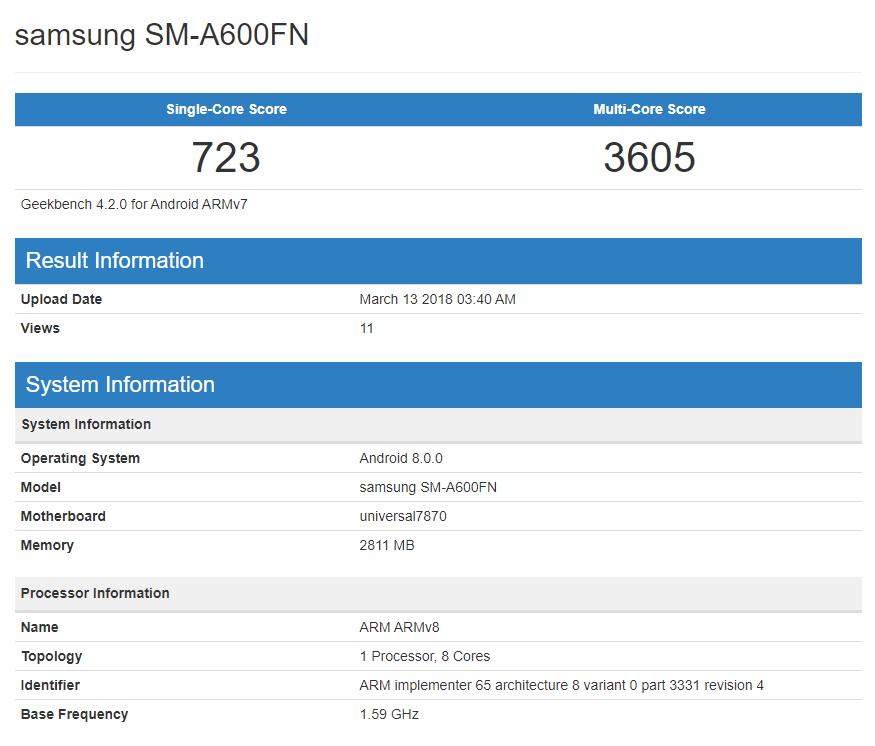 Samsung Galaxy A6 na Geekbench