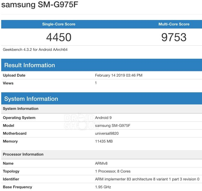 Samsung Galaxy S10+ Geekbench 12GB RAM