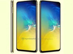 Rendery Samsung Galaxy S10e ve žluté barvě