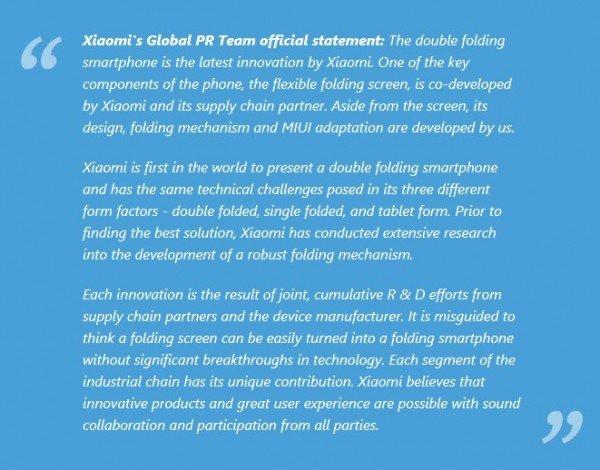 Vyjádření společnosti Xiaomi