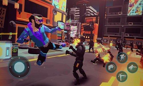 Akce v ulicích města ve hře Cyber rage: Retribution