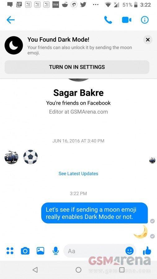 Facebook Messenger tmavý mód