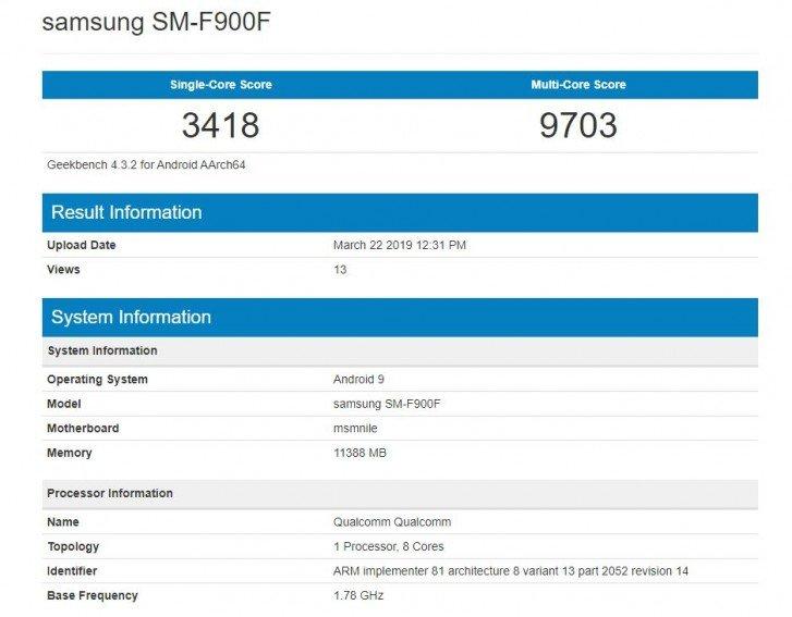 Samsung Galaxy Fold na Geekbench