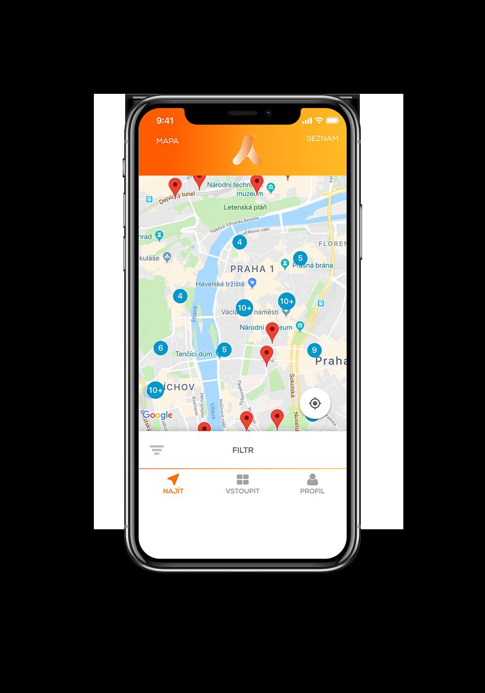 Vyhledávání zábavy a sportovišť v aplikaci ActivePass