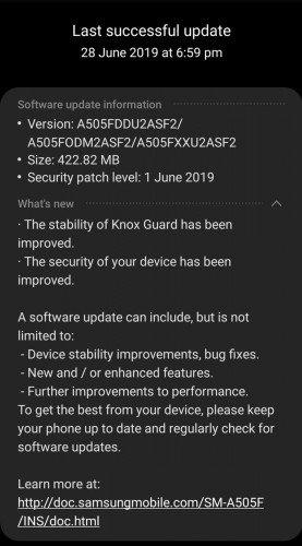 Samsung Galaxy A50 a aktualizace