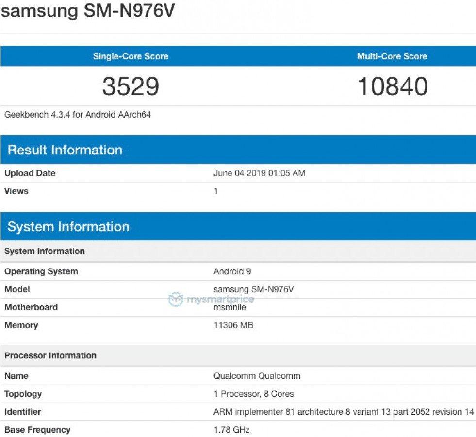 Samsung Galaxy Note 10 - vyšší varianta
