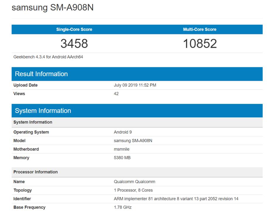 Galaxy A90 Geekbench test