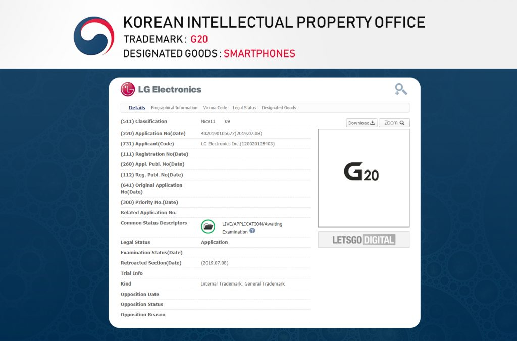 LG G20 ochranná známka