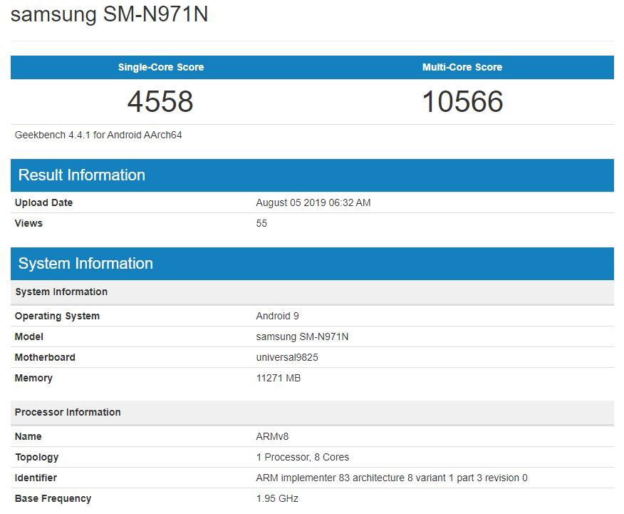 Note 10 5G Exynos 9825