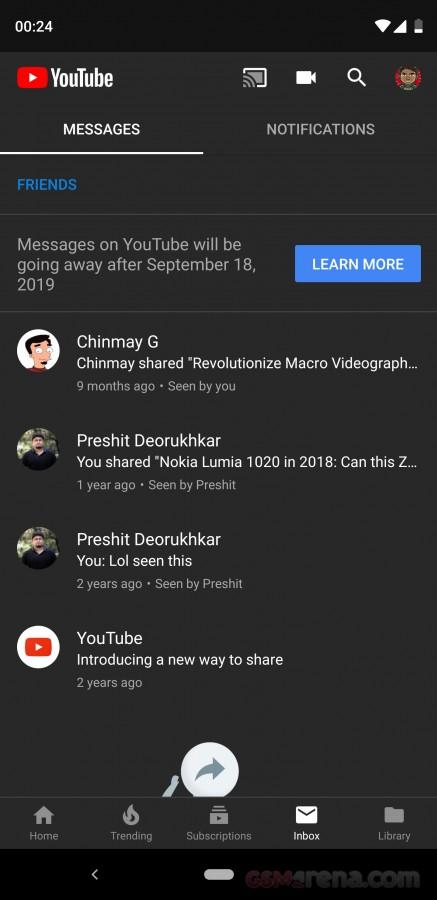 Youtube direct zprávy ukončeny