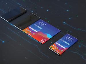 LG skládaný telefon na 3D renderech