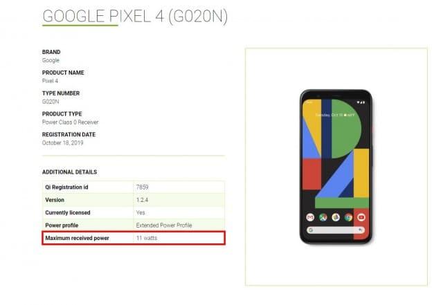Google Pixel 4 a 11W rychlé bezdrátové nabíjení