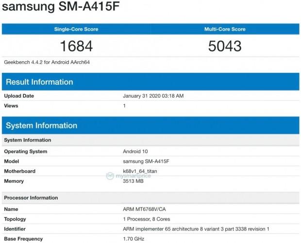 Galaxy A41 na Geekbench