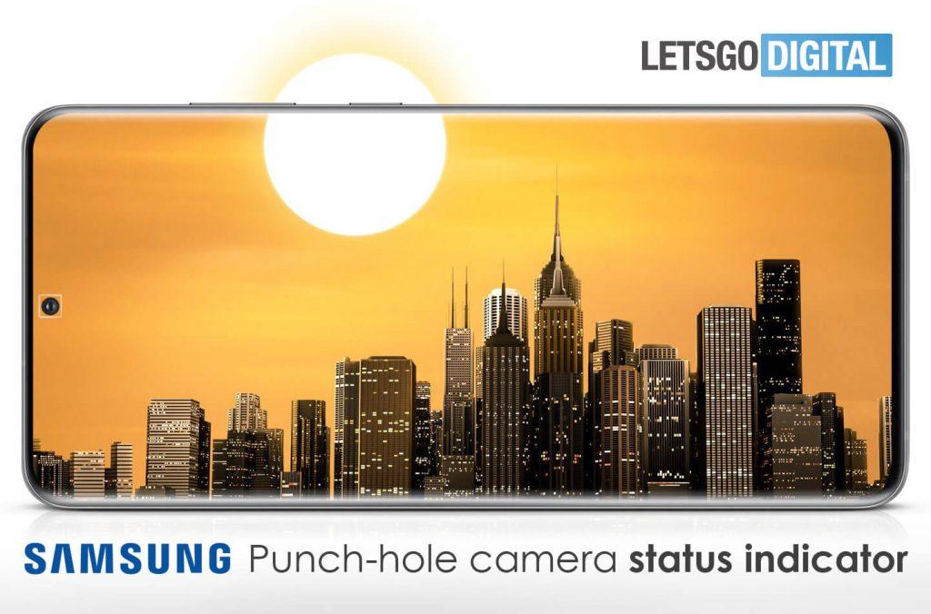 Stavový indikátor u selfie kamery Samsung