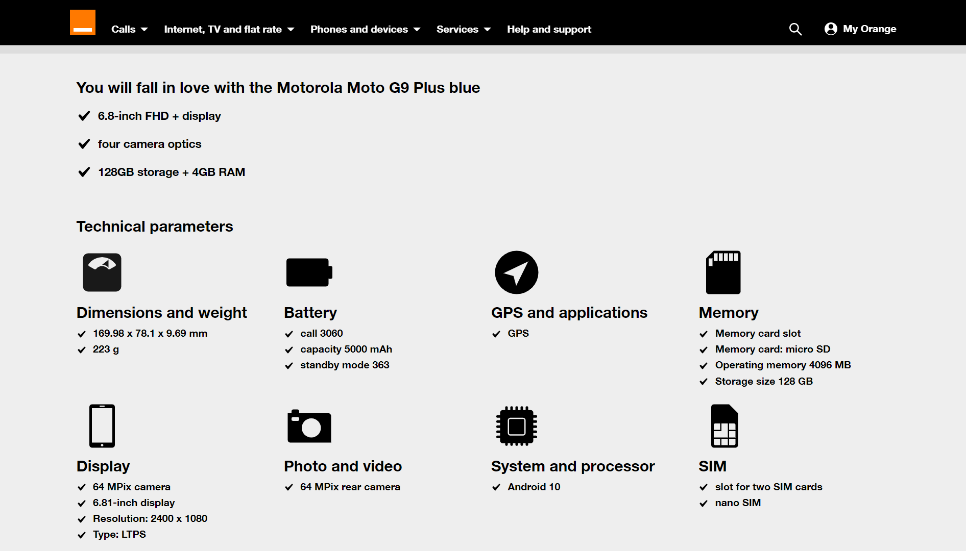 Motorola G9 Plus specifikace